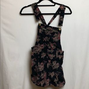 Kimchi Velour Floral Overalls